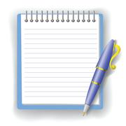 pen and notepad - stock illustration