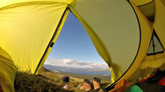 View through camping tent - stock footage