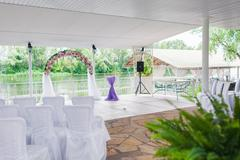 Elegant banquet hall Stock Photos