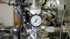 Manometer in nuclear  laboratory, zoom in - stock footage