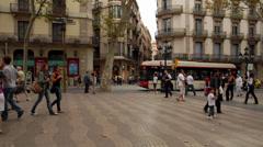 La Rambla, Barcelona, Spain - stock footage