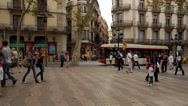 Stock Video Footage of La Rambla, Barcelona, Spain
