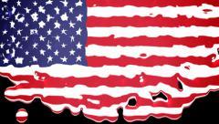 USA flag liquid transition - Alpha channel - 1080p Stock Footage