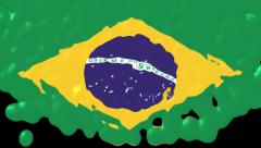 Brazil Flag Liquid Transition - Alpha channel - 1080p Stock Footage