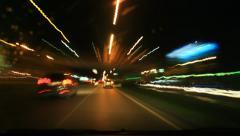 Ajonopeus yöllä Viivästys, värikäs valo Arkistovideo