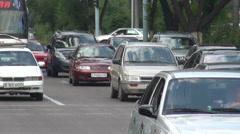Busy traffic lane in Almaty, Kazakhstan Stock Footage