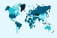 Stock Illustration of world map, blue countries illustration eps10 vector file.