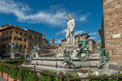 fountain of neptune on piazza della signoria in florence. - stock photo