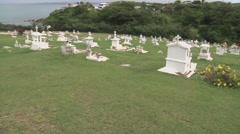 Graveyard pan by ocean Stock Footage