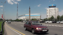 Main avenue traversing 'Republic Square' in Almaty, Kazakhstan Stock Footage
