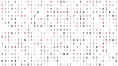 Binary code screen with red cypher Stock Footage