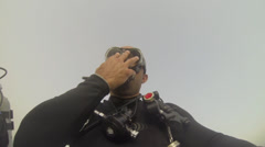 Scuba diver jump backwards - selfie shot Stock Footage