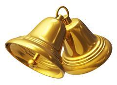 Golden Christmas bells - stock illustration