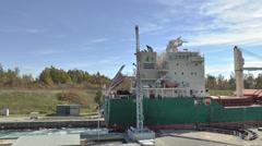 Bulk Carrier Ship In A Lock Stock Footage