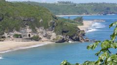 Beach with train tunel - Guajataca Beach - Puerto Rico. Stock Footage