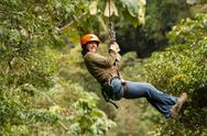 Zip Line Adventure In Ecuadorian Rainforest Banos De Agua Santa Stock Photos