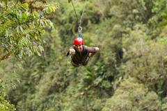 Stock Photo of Zip Line Adventure In Ecuadorian Rainforest Banos De Agua Santa