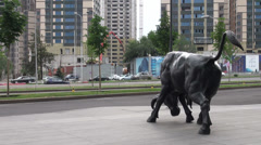 Charging bull, economic growth, Kazakhstan, Central Asia Stock Footage
