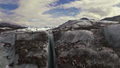 Glacier Crevasse Meltwater Jib Up Wide Handheld Stock Footage