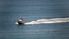 California Lifeguard boat on duty Stock Footage