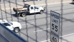 Freeway with 55 MPH Sign - stock footage
