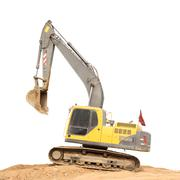 Old dirty yellow backhoe and brown soil ground on white background. Stock Photos