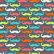 retro seamless pattern with mustache - stock illustration