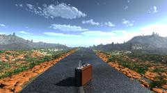 suitcase on a deserted road as adventure concept background - stock illustration