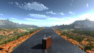 Stock Illustration of suitcase on a deserted road as adventure concept background