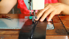Women sewing with old sewing machine Stock Footage
