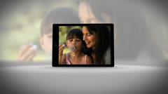 Tablet filming family in different locations Stock Footage