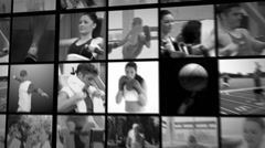 Thee short clips of people exercising in the gym Stock Footage
