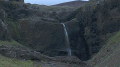 waterfall at old volcanic crater iceland - stock footage