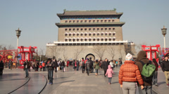 Qianmen street in Chinese new year. Stock Footage
