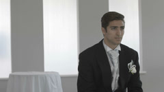 Anxious groom waiting on his wedding day - stock footage