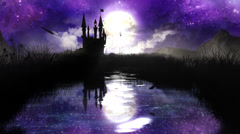Magic Night over the pond with castle - loop Stock Footage