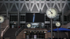 Clocks in Canary Wharf 1 Stock Footage