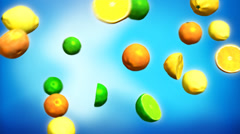 Flying citrus fruits on blue background Stock Footage