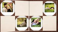 Photo album on a table Stock After Effects