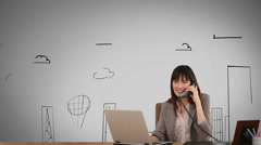Smiling businesswoman working in front of animated city - stock footage
