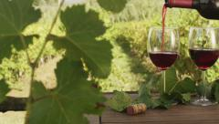 Filling Glasses with Wine in Vineyard. v1. Close-Up. Stock Footage