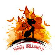 Scary cat in Halloween Night Stock Illustration