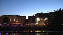 restaurant terrace night - stock footage