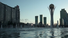 Golden tower, silhouette, Astana Stock Footage