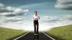 Happy businesswoman jumping in front of flying sheets Stock Footage