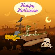 Stock Illustration of Skelton in Halloween night