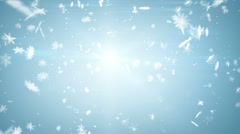Airy snowfall on blue seamless loop Stock Footage