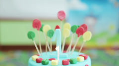 Top of the cake on a children's birthday party Stock Footage