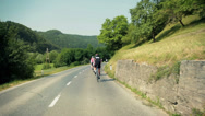 Stock Video Footage of Following group of bicycle competitors