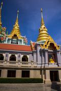golden temple on high mountain in thailand - stock photo